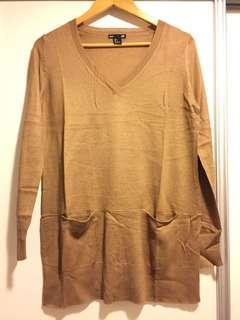 H&M 啡色上衣 駝色 針織 V領衫 brown sweater