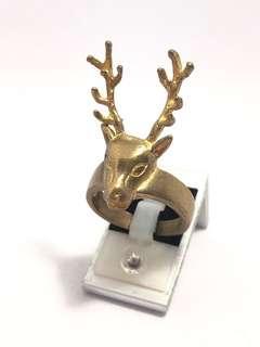 🚚 古董 公鹿先生 黃銅戒指