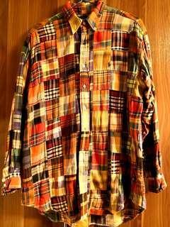 Polo classic 經典 patchwork shirt size M 厚身拼布