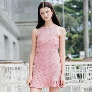 TheStageWalk Cornelia Crochet Drop Waist Dress In Pink