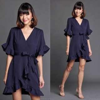 TheVelvetDolls Mayer Ruffled Wrap Dress In Navy