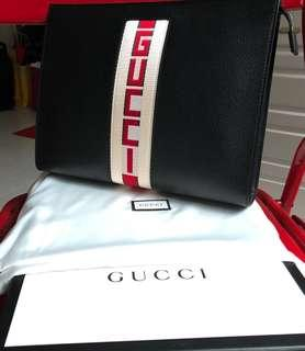 Gucci Webbing-Trimmed Leather Clutch