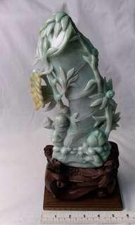 緬甸a玉9吋竹報平安 擺件, 多年前舊工雕刻作品 , 雕工精巧, 送禮或收藏佳品