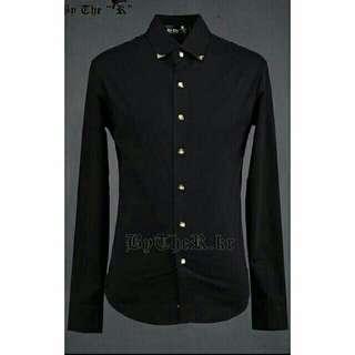 🚚 全新韓版修身金色領扣裝飾黑色長袖襯衫