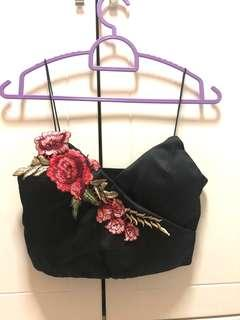 Embroidery Floral Black Crop Top #MY1212