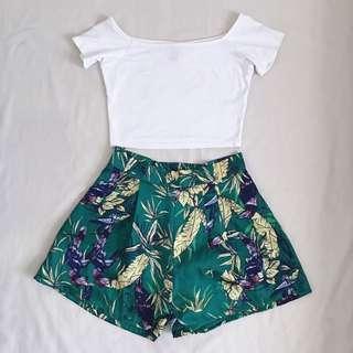 Leafy Printed High Waist Shorts