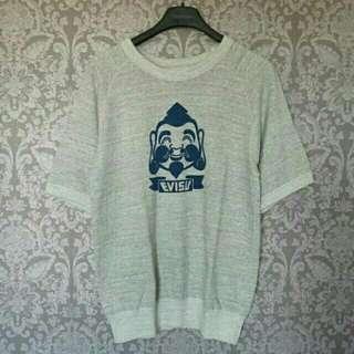 🚚 全新日本正品EVISU褔神淺灰色棉質圓領挺版五分袖T恤~約L號