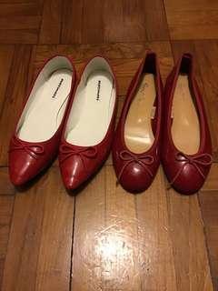 包順豐 兩對 Red flats 紅色 平底鞋 repetto style 尖頭 pointed flat