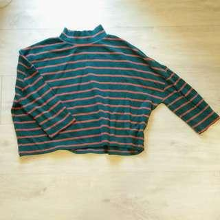 Frank and Oak Green and Orange Striped Mock Neck Top