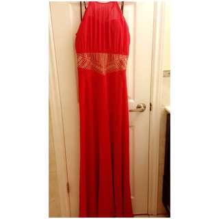 Red prom dress with golden details, Size M/L