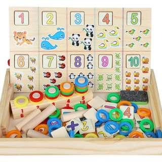 🚚 Educational Wooden Toy Set Math Learning Puzzle Kids Pre-School Training Props