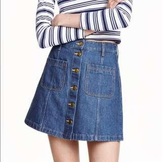 H&M High Waisted Button Up Denim Skirt