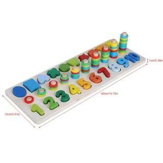 🚚 Wooden Number Shape Classification Matching Blocks Children Early Learning Toys