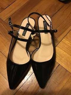 黑色 漆皮 尖頭 女神鞋 涼鞋 方跟鞋 sandal heels