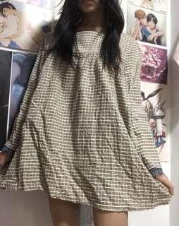 korean brown checkered baby doll dress