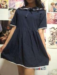 navy blue baby doll sailor dress