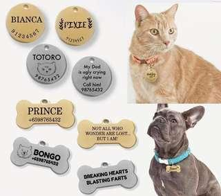 Cat and Dog Pet Id Tag Engraving