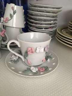 New KK Home Deco 10-set flowery patches tea cup & saucer #MY1212