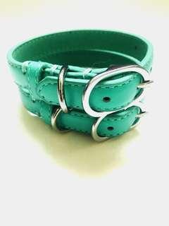 Turquoise leather cat collar - genuine leather