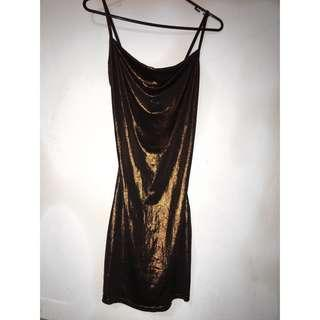 Metallic bronze cowl neck bodycon dress