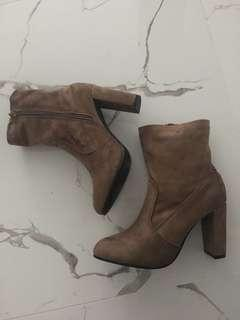 Suede high heel booties