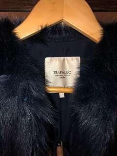 Zara Navy Blue Fur Coat