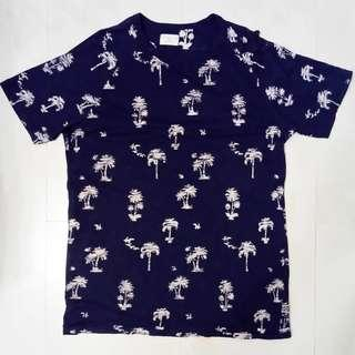 Selected Homme Palm Tree Navy T Shirt Size Medium