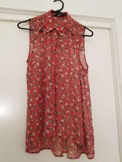 Oasis Sleeveless Shirt with prints size 10