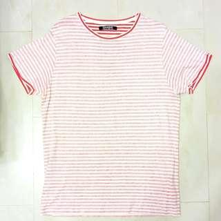 Pull & Bear Red White Striped T Shirt Size Medium
