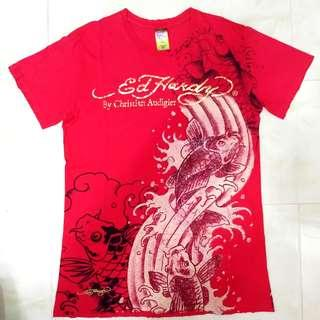 Ed Hardy Koi Fish T Shirt Red Size Small (Fits Medium)