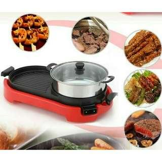 2 In 1 Korean Electronic Pan Grill BBQ And Hot Pot Steamboat Combination (Red) #MY1212