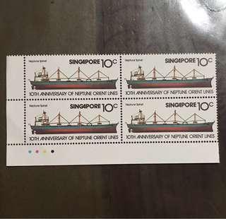 1979 Singapore NOL shipping stamps 10c block of 4 MNH