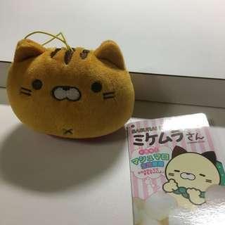 綿花糖質地 貓公仔 掛飾 棕色貓