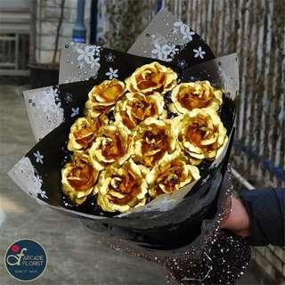 "11 Stalks 24K ""Gold Foil Plated"" Roses Bouquet 