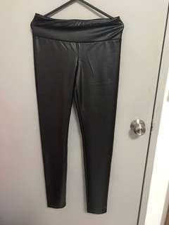 Black tights leather jeans