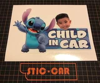 自訂照片 Child in Car  防水車貼