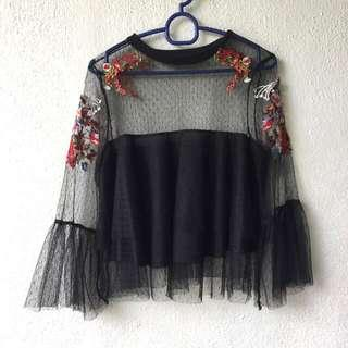 (New) Zara Inspired Lace Embroidered Tulle Layered Top