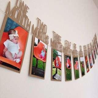 🚚 Instock - 12 months photo banner, baby infant toddler girl boy