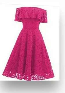 Stretch free size lace dress X-Mas
