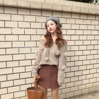 📣慵懶風兩穿一字領長袖毛球針織毛衣 #868