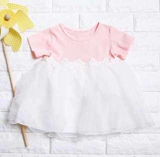 🚚 Instock - pink fluffy dress, baby infant toddler girl