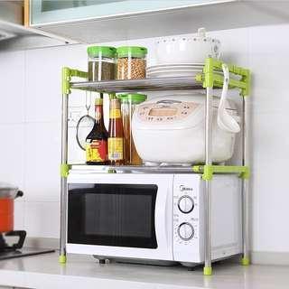 Stainless steel microwave oven rack shelving rack kitchen retractable shelving shelving storage rack finishing rack