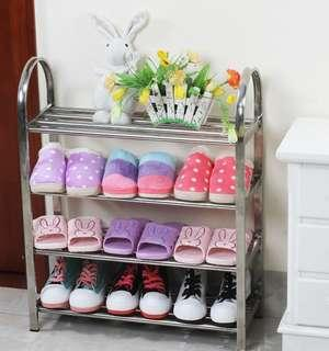 Multi-layer economical stainless steel shoe rack simple home creative multi-functional assembly