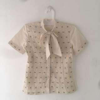 Vintage Off White Embroidery Top / Blouse