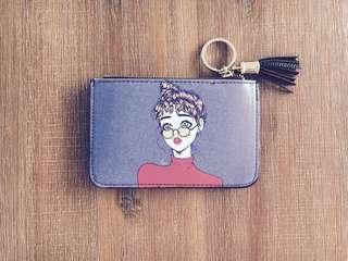Blue Fashion Girl Cardholder / Coin Pouch #1212