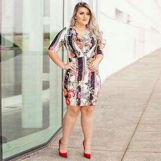 New Printed Midsleeve Plus-size Dress