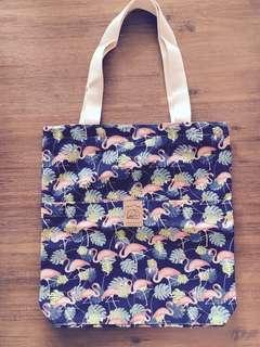 Handmade Pink Flamingo Blue Canvas Zip Tote Bag #1212
