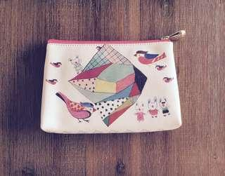 Handmade Cute Bird & Rabbit White Zip Pouch / Clutch #1212
