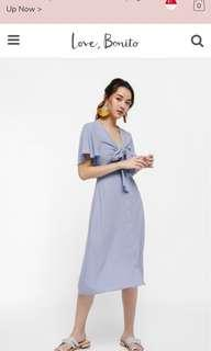 Love bonito Syren Tie-front Midi Dress dusty blue