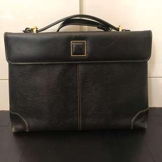 Black leather laptop document holder briefcase bag